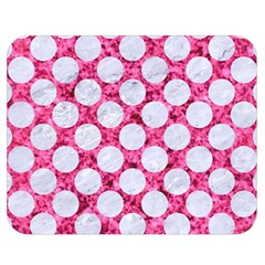 Circles2 White Marble & Pink Marble Double Sided Flano Blanket (medium)
