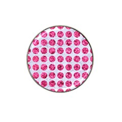 Circles1 White Marble & Pink Marble (r) Hat Clip Ball Marker