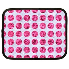 Circles1 White Marble & Pink Marble (r) Netbook Case (xxl)
