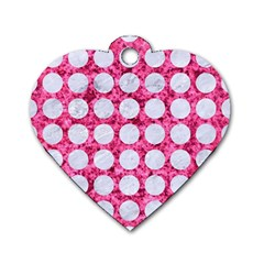 Circles1 White Marble & Pink Marble Dog Tag Heart (one Side)