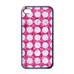 Circles1 White Marble & Pink Marble Apple Iphone 4 Case (black)
