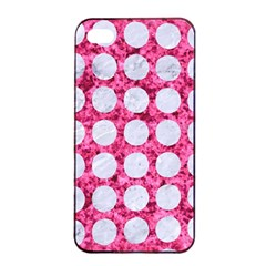 Circles1 White Marble & Pink Marble Apple Iphone 4/4s Seamless Case (black)