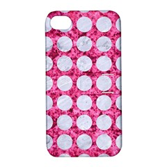 Circles1 White Marble & Pink Marble Apple Iphone 4/4s Hardshell Case With Stand