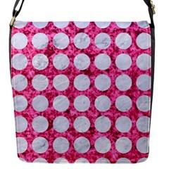 Circles1 White Marble & Pink Marble Flap Messenger Bag (s)