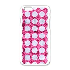 Circles1 White Marble & Pink Marble Apple Iphone 6/6s White Enamel Case