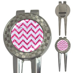 Chevron9 White Marble & Pink Marble (r) 3 In 1 Golf Divots