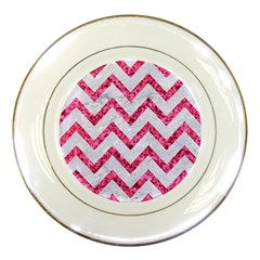 Chevron9 White Marble & Pink Marble (r) Porcelain Plates
