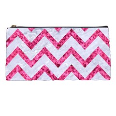 Chevron9 White Marble & Pink Marble (r) Pencil Cases