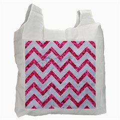Chevron9 White Marble & Pink Marble (r) Recycle Bag (two Side)