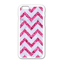 Chevron9 White Marble & Pink Marble (r) Apple Iphone 6/6s White Enamel Case