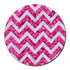Chevron9 White Marble & Pink Marble Round Mousepads