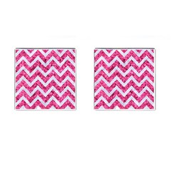 Chevron9 White Marble & Pink Marble Cufflinks (square)