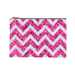 Chevron9 White Marble & Pink Marble Cosmetic Bag (large)