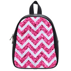 Chevron9 White Marble & Pink Marble School Bag (small)
