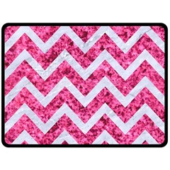 Chevron9 White Marble & Pink Marble Fleece Blanket (large)
