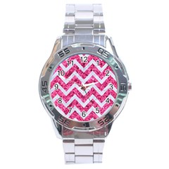 Chevron9 White Marble & Pink Marble Stainless Steel Analogue Watch