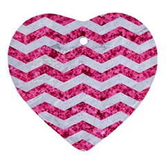 Chevron3 White Marble & Pink Marble Ornament (heart)