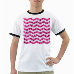Chevron3 White Marble & Pink Marble Ringer T Shirts
