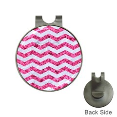 Chevron3 White Marble & Pink Marble Hat Clips With Golf Markers