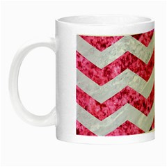 Chevron3 White Marble & Pink Marble Night Luminous Mugs
