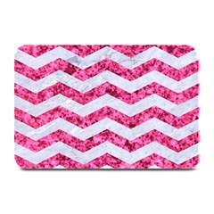 Chevron3 White Marble & Pink Marble Plate Mats by trendistuff