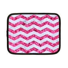 Chevron3 White Marble & Pink Marble Netbook Case (small)  by trendistuff