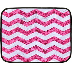 Chevron3 White Marble & Pink Marble Double Sided Fleece Blanket (mini)  by trendistuff