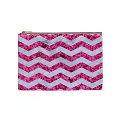 Chevron3 White Marble & Pink Marble Cosmetic Bag (medium)