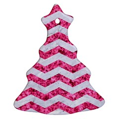 Chevron3 White Marble & Pink Marble Ornament (christmas Tree)