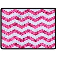 Chevron3 White Marble & Pink Marble Double Sided Fleece Blanket (large)