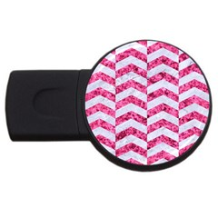 Chevron2 White Marble & Pink Marble Usb Flash Drive Round (2 Gb)