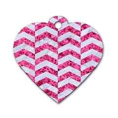 Chevron2 White Marble & Pink Marble Dog Tag Heart (one Side)
