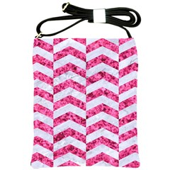 Chevron2 White Marble & Pink Marble Shoulder Sling Bags