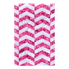 Chevron2 White Marble & Pink Marble Shower Curtain 48  X 72  (small)