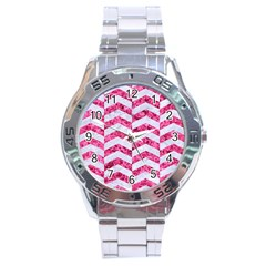 Chevron2 White Marble & Pink Marble Stainless Steel Analogue Watch