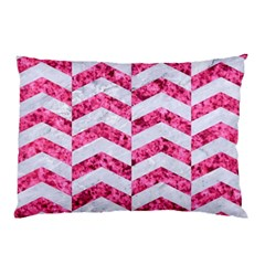 Chevron2 White Marble & Pink Marble Pillow Case (two Sides) by trendistuff