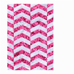 Chevron2 White Marble & Pink Marble Small Garden Flag (two Sides)