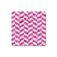 Chevron1 White Marble & Pink Marble Square Magnet