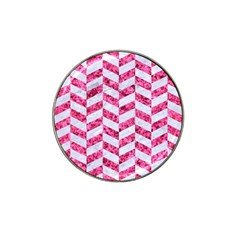 Chevron1 White Marble & Pink Marble Hat Clip Ball Marker
