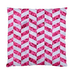 Chevron1 White Marble & Pink Marble Standard Cushion Case (two Sides)