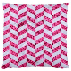 Chevron1 White Marble & Pink Marble Standard Flano Cushion Case (one Side)
