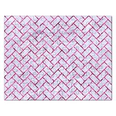 Brick2 White Marble & Pink Marble (r) Rectangular Jigsaw Puzzl