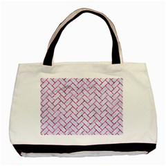 Brick2 White Marble & Pink Marble (r) Basic Tote Bag