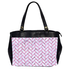 Brick2 White Marble & Pink Marble (r) Office Handbags (2 Sides)  by trendistuff