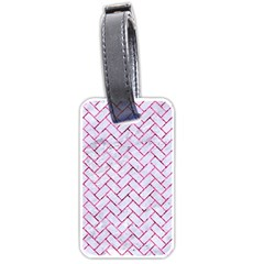 Brick2 White Marble & Pink Marble (r) Luggage Tags (one Side)