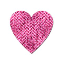 Brick2 White Marble & Pink Marble Heart Magnet
