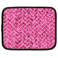 Brick2 White Marble & Pink Marble Netbook Case (large) by trendistuff