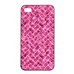 Brick2 White Marble & Pink Marble Apple Iphone 4/4s Seamless Case (black)