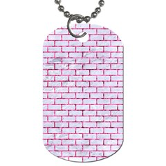 Brick1 White Marble & Pink Marble (r) Dog Tag (one Side)