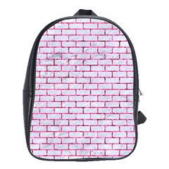 Brick1 White Marble & Pink Marble (r) School Bag (xl)